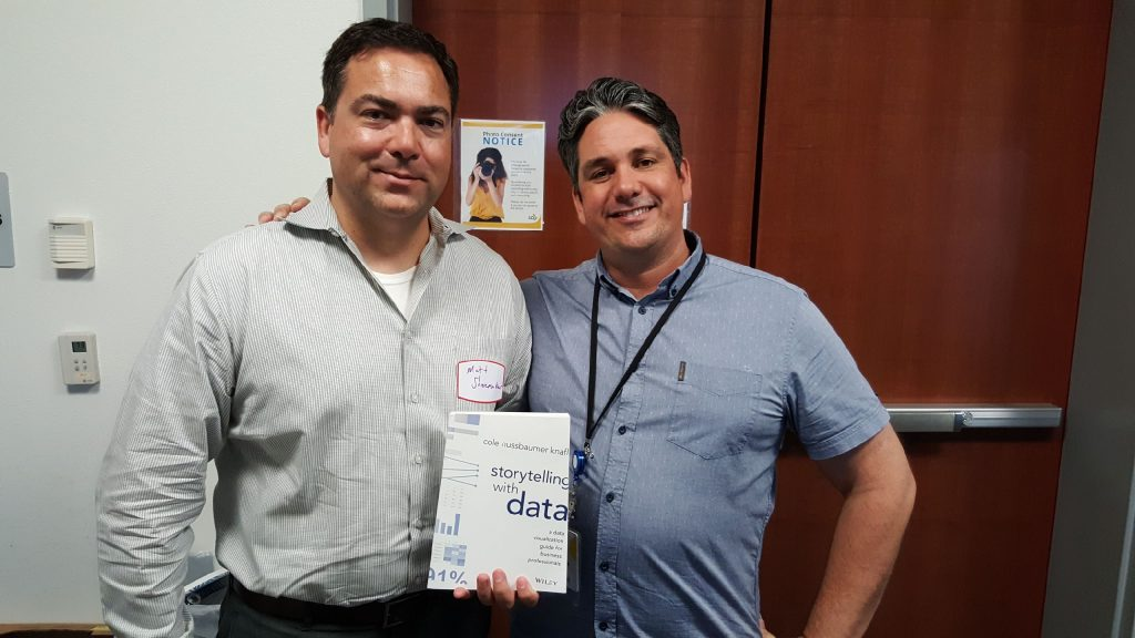 Matt Shoemaker, left, and Charles Sutton, right, at the inaugural Diego Data Discovery workgroup meeting.