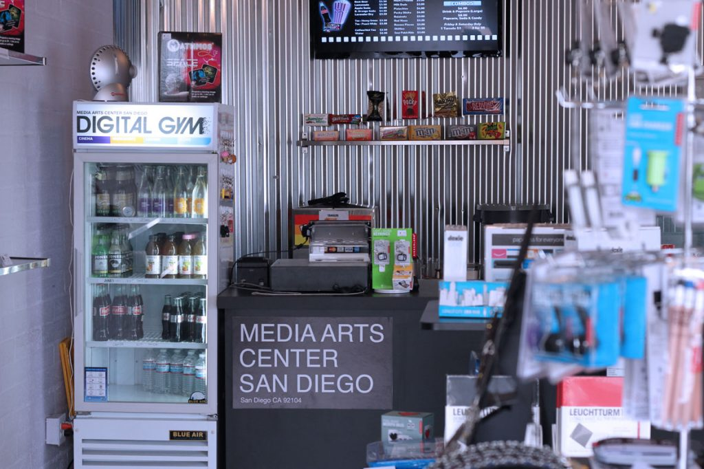 Today's digital marketing at the Media Arts Center San Diego—the box office and concessions stand at the Digital Gym Cinema.